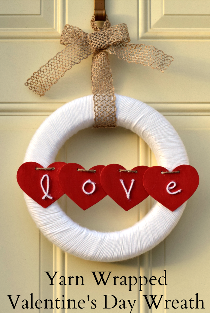 Yarn Wrapped Love Wreath from It Happens In A Blink
