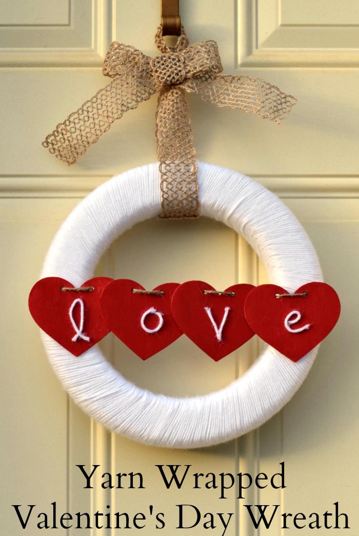 Yarn Wrapped Love Wreath from It Happens In A Blink