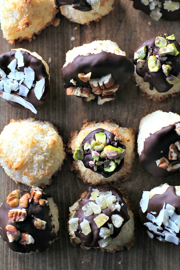 Chocolate Dipped Coconut Macaroons recipe from The Roasted Root