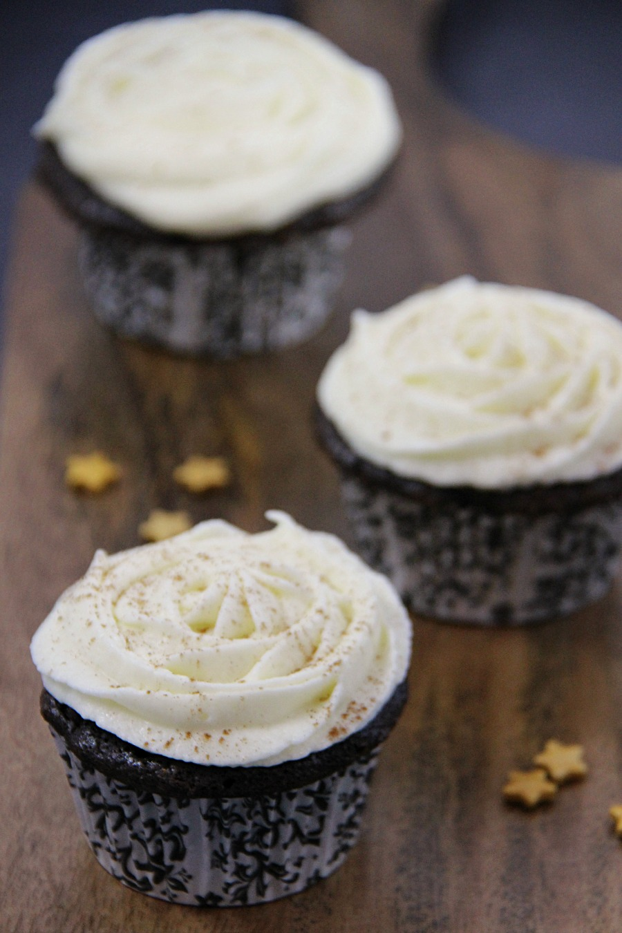Chocolate Cupcakes with Eggnog Buttercream Frosting recipe from Family Food and Travel