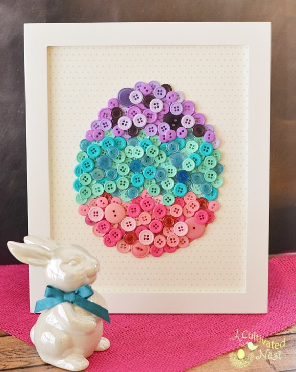 DIY Easter Egg Button Art from A Cultivated Nest