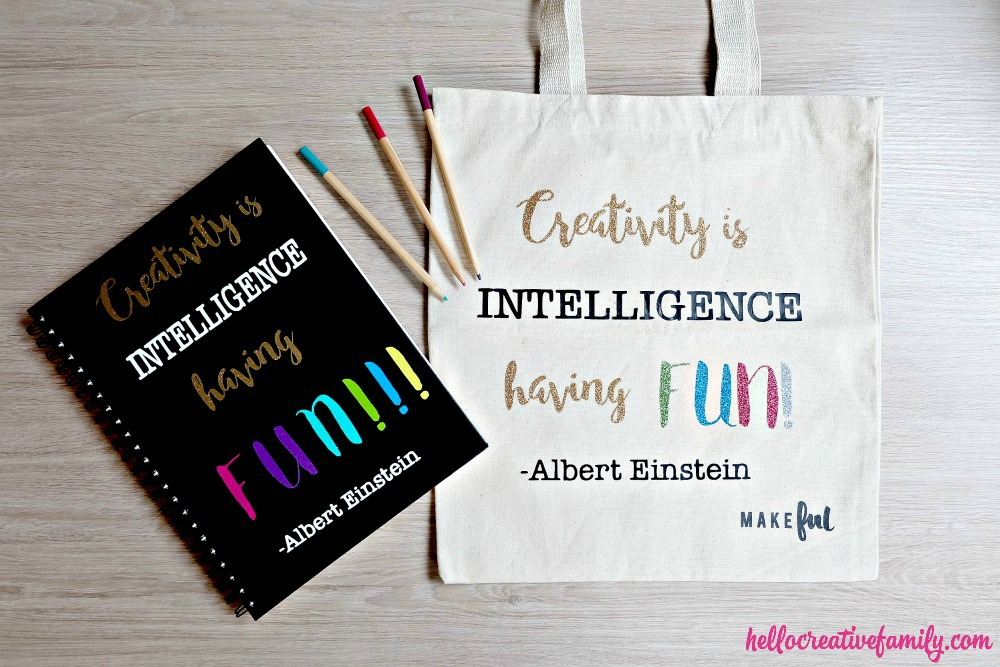 "The perfect handmade gift idea for any creative person! This ""Creativity is intelligence having fun"" quote from Albert Einstein is cut using the Cricut Explore. Such a fun DIY Tote Bag and a fun cricut explore project."