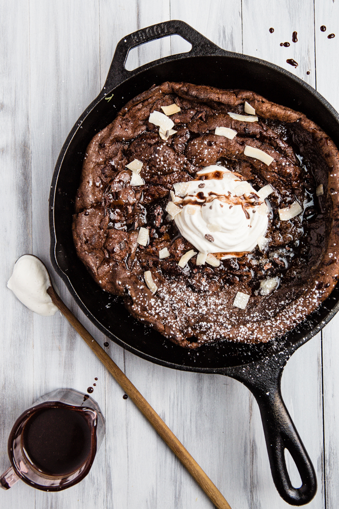 Double Dark Chocolate Dutch Baby Pancake with Vanilla Bean Whipped Cream Recipe from The Modern Proper