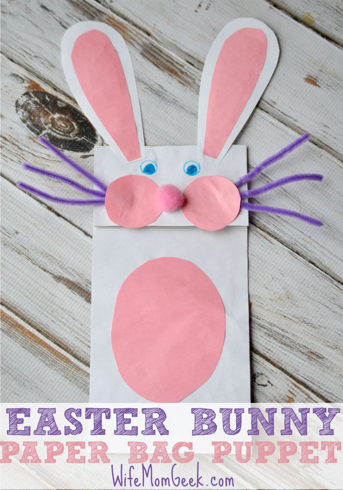 Easter Bunny Paper Bag Puppet from Gluesticks Gumdrops