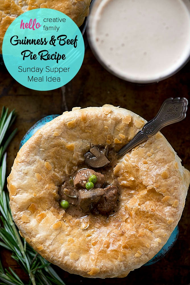 "This would make a great St. Patrick's Day Meal or a Sunday Supper Idea. This recipe is the ultimate ""Man Meal""! What guy wouldn't want to dig into a slow cooked comfort meal like this Guinness and Beef Pie Recipe? Beer and Beef... Does it get any better?"