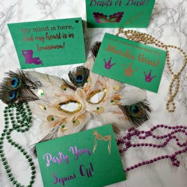 Mardis Gras is a state of mind! Check out the DIY Mardis Gras Greeting Card Cricut Project and download the cuttable files to make them!