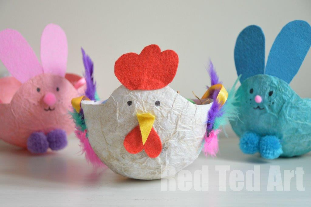 Paper Mache Easter Baskets from Red Ted Art
