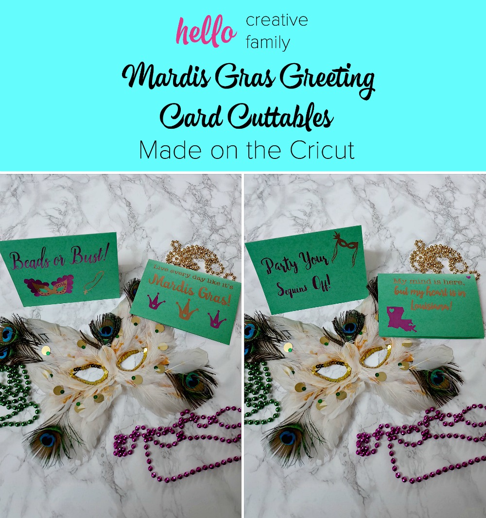 Mardis Gras is a state of mind! Check out these DIY Mardis Gras Greeting Cards and download the cuttable files to make your very own on the Cricut!