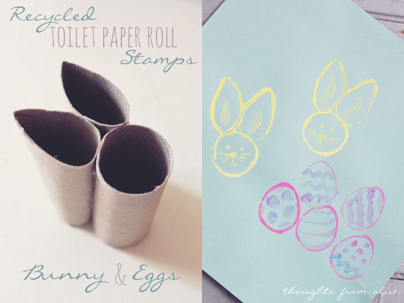 Recycled Bunny and Egg Toilet Paper Tube Stamps from Thoughts From Alice