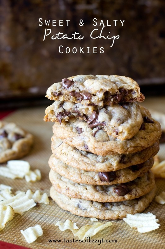 Sweet and Salty Potato Chip Chocolate Chip Cookies Recipe from Tastes of Lizzy T