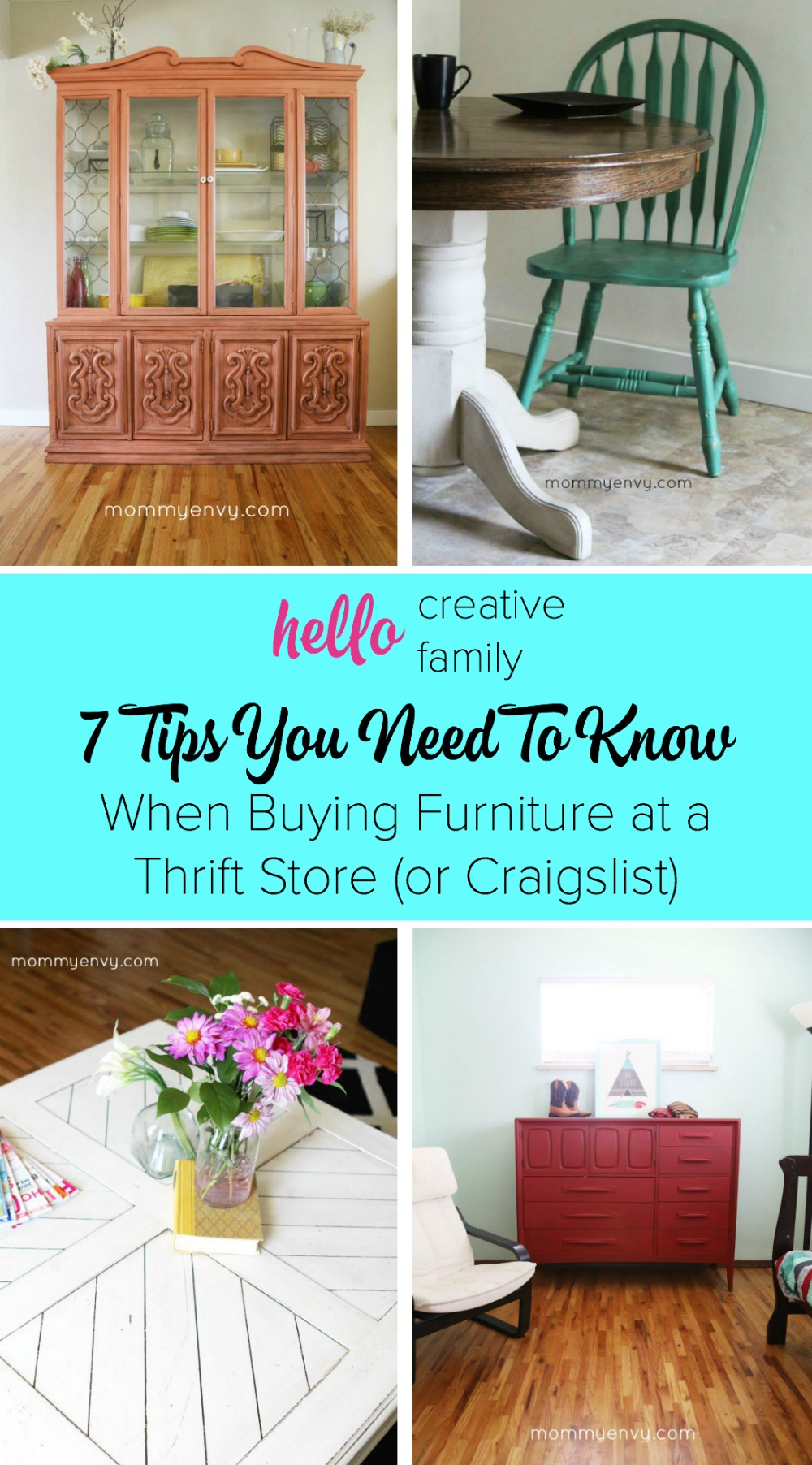 I'm dying to turn my home into one of those vintage furniture, thrift store treasure, DIY Pinterest homes but I'm clueless about what to look for at the antique store! This article was such a huge help. You need to read it before your next thrift store or craigslist purchase! I especially love tip #7. 7 Tips On Buying Furniture at a Thrift Store.