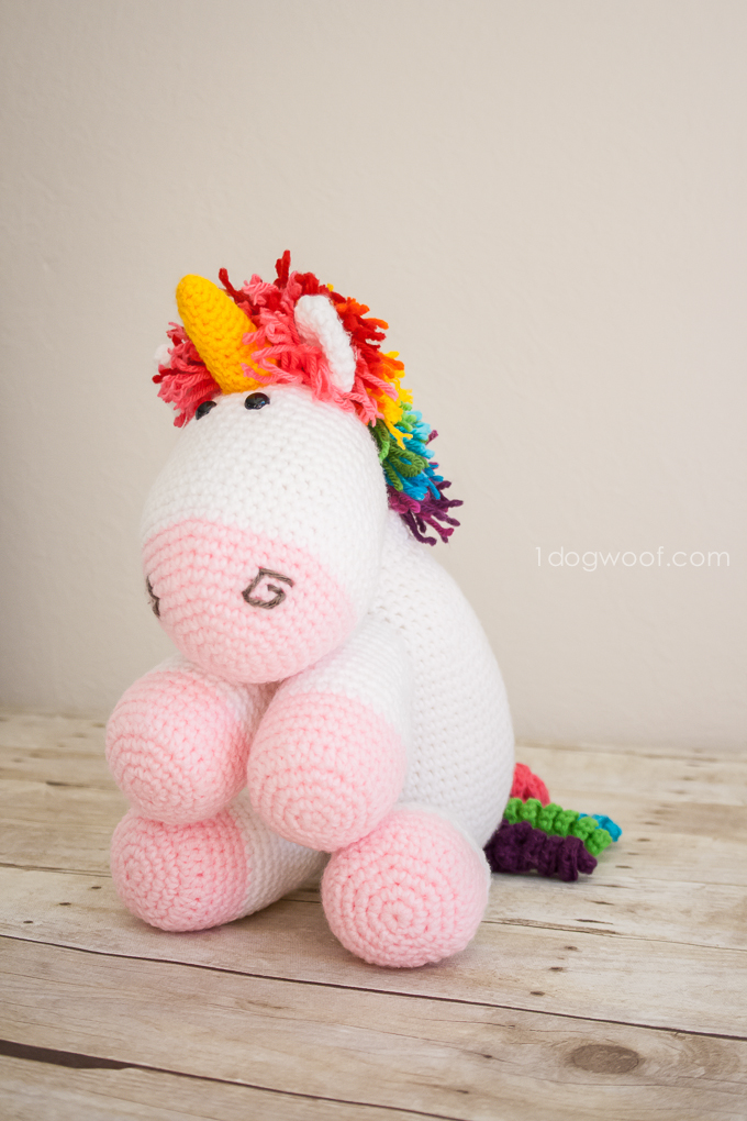 75+ Magically Inspiring Unicorn Crafts, DIYs, Foods and Gift Ideas: Amigurumi Rainbow Mained Unicorn Crochet Pattern from One Dog Woof
