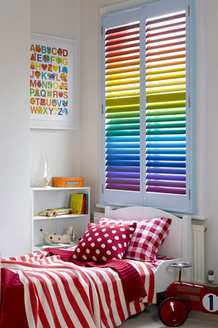 Brightly Colored Rainbow Blinds from House and Garden