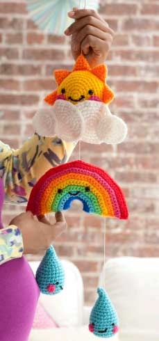 Crocheted Rainbow Baby Mobile Pattern from Fine Craft Guild