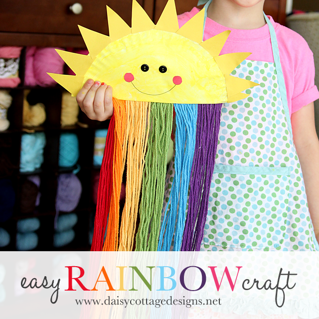 Happy Sunshine Paper Plate and Yarn Rainbow Craft from Daisy Cottage Designs