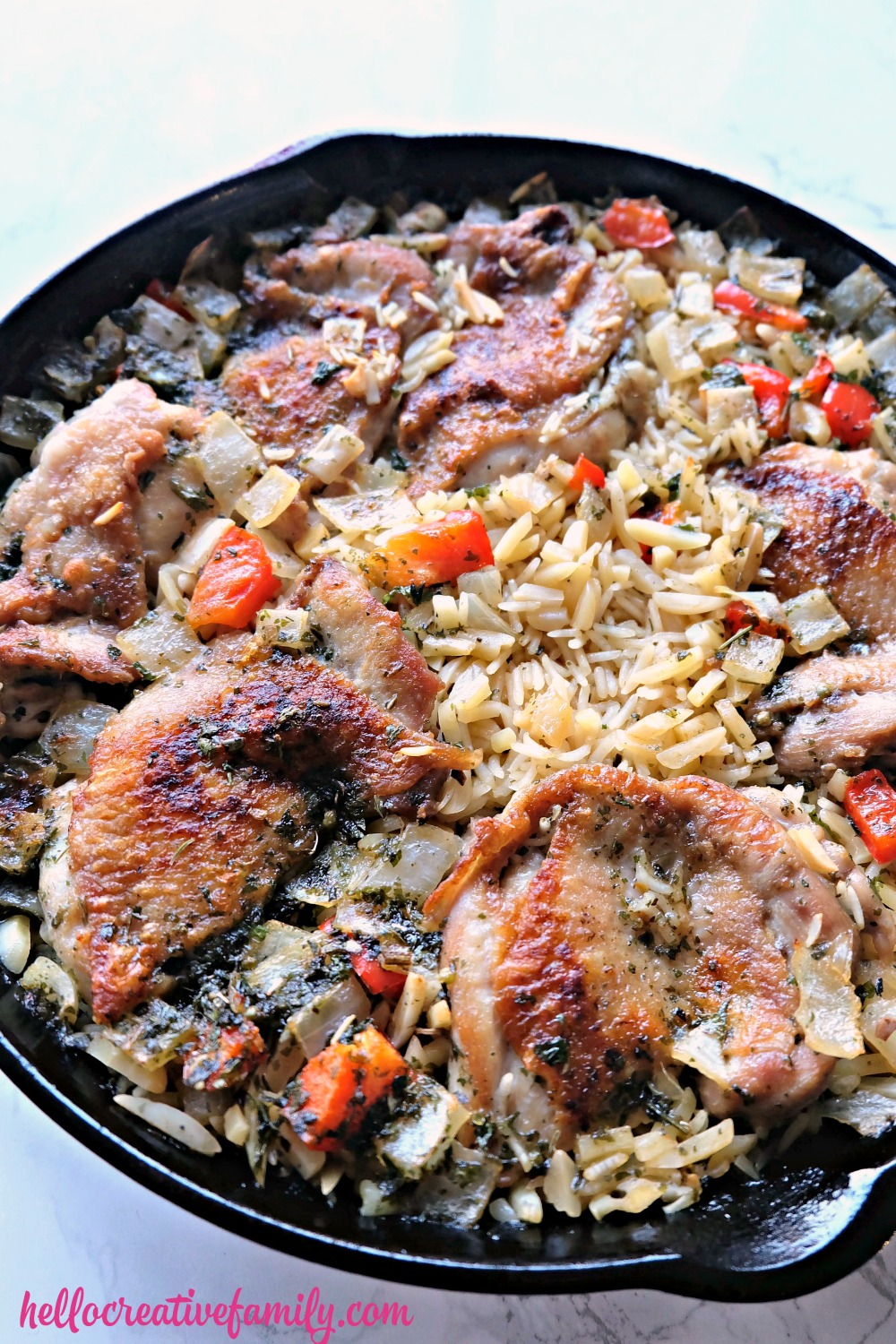 This one pot, 30 minute meal is sure to be a hit for the whole family! Made with deboned chicken thighs, this Greek lemon chicken with rice recipe is a favorite with adults and kids alike! It cooks up in about 20 minutes giving you extra time to put together a delicious side dish. Uses all simple recipes you probably have at home!