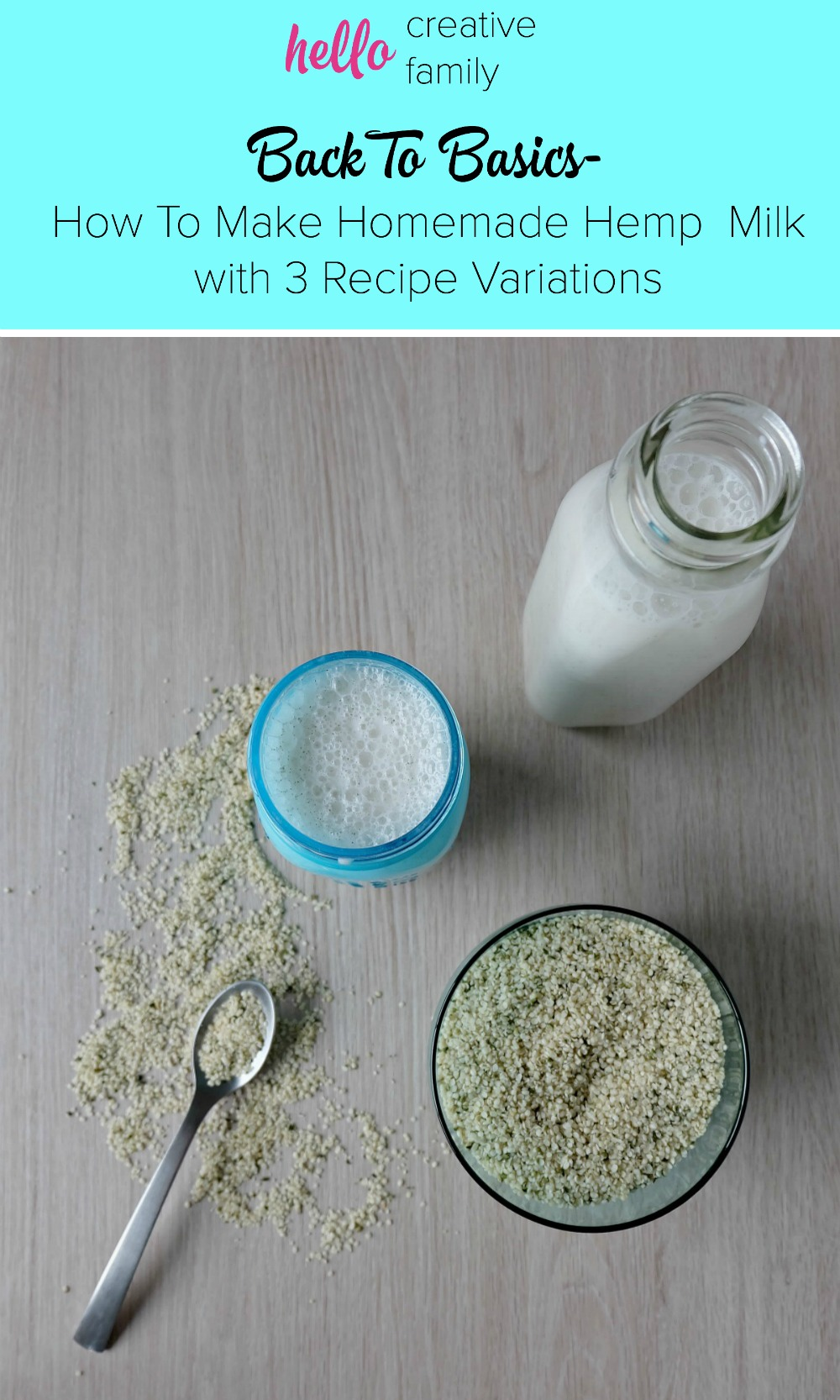 Take clean eating to a whole new level by making your own hemp milk! This dairy free homemade hemp milk recipe takes 60 seconds to make! She also gives 3 variations for flavored nut milk! Why buy it at the store? Make it at home!
