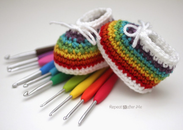 Rainbow Baby Booties from Repeat Crafter Me