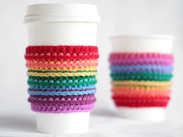 Rainbow Crocheted Cup Cozy from Tuts+