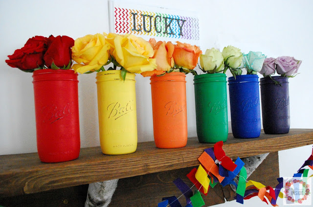 Rainbow Mason Jars from A Glimpse Inside