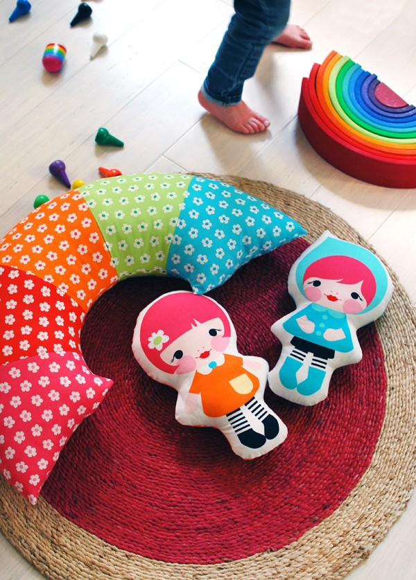 Rainbow Pillow Sewing Tutorial from We Are Scout