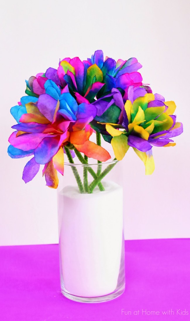 Rainbow Tissue Paper Coffee Filter Bouquet from Fun At Home With Kids