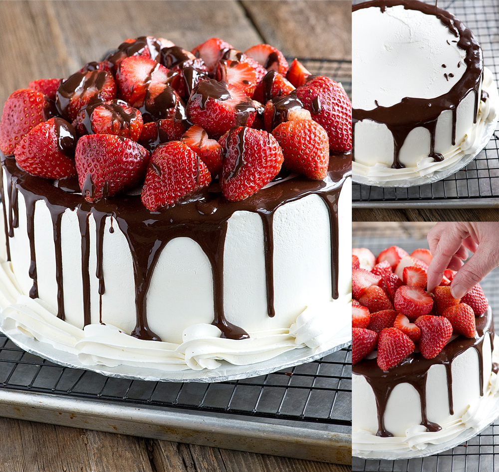 Chocolate Cake Decorating With Strawberries