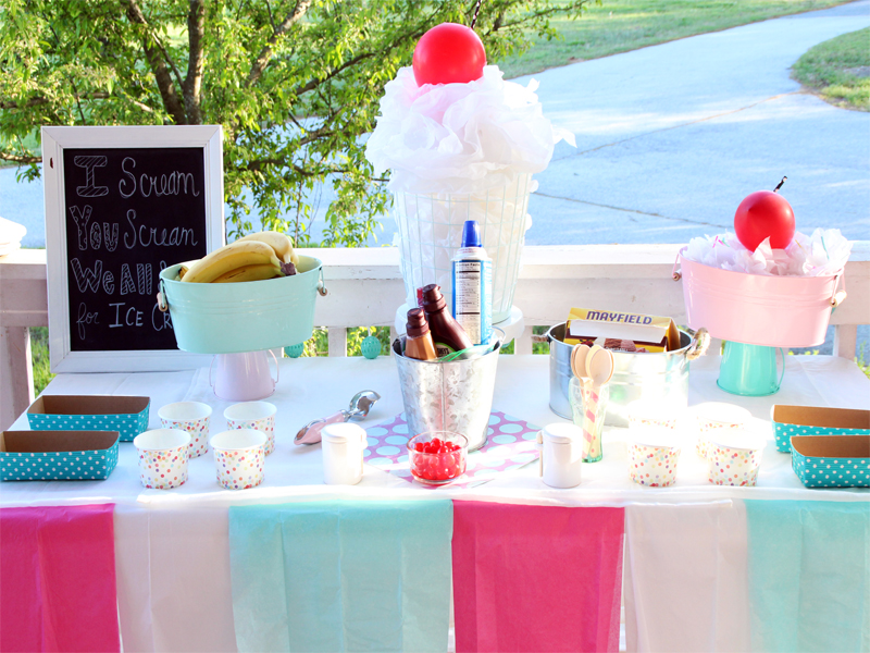 Banana Split Ice Cream Party from The Southern Couture