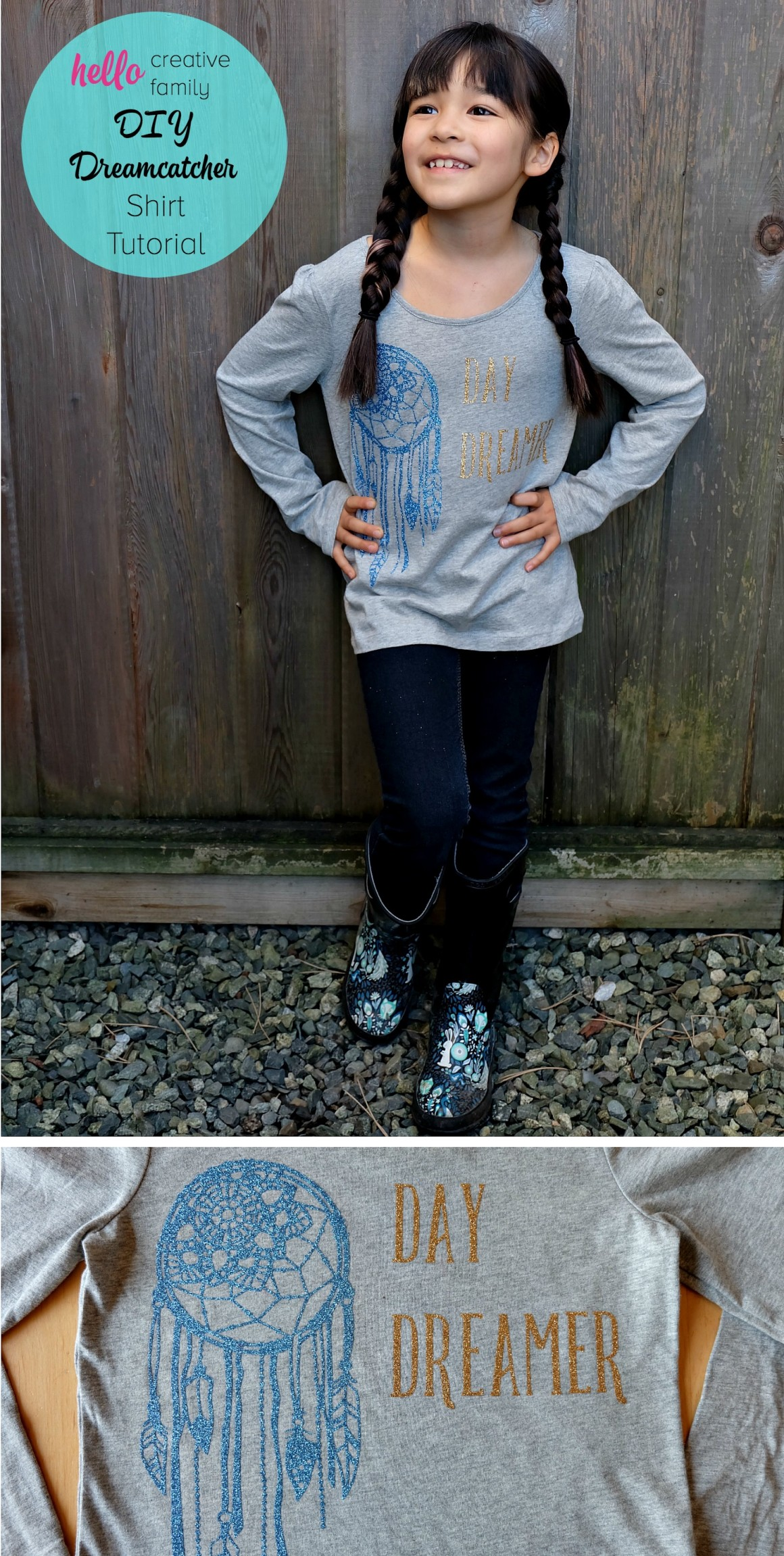 The perfect shirt for the dreamer in your life! This DIY Dreamcatcher shirt can be made in minutes using the Cricut Explore. The project says Day Dreamer and would be lovely for women's or children's clothing!