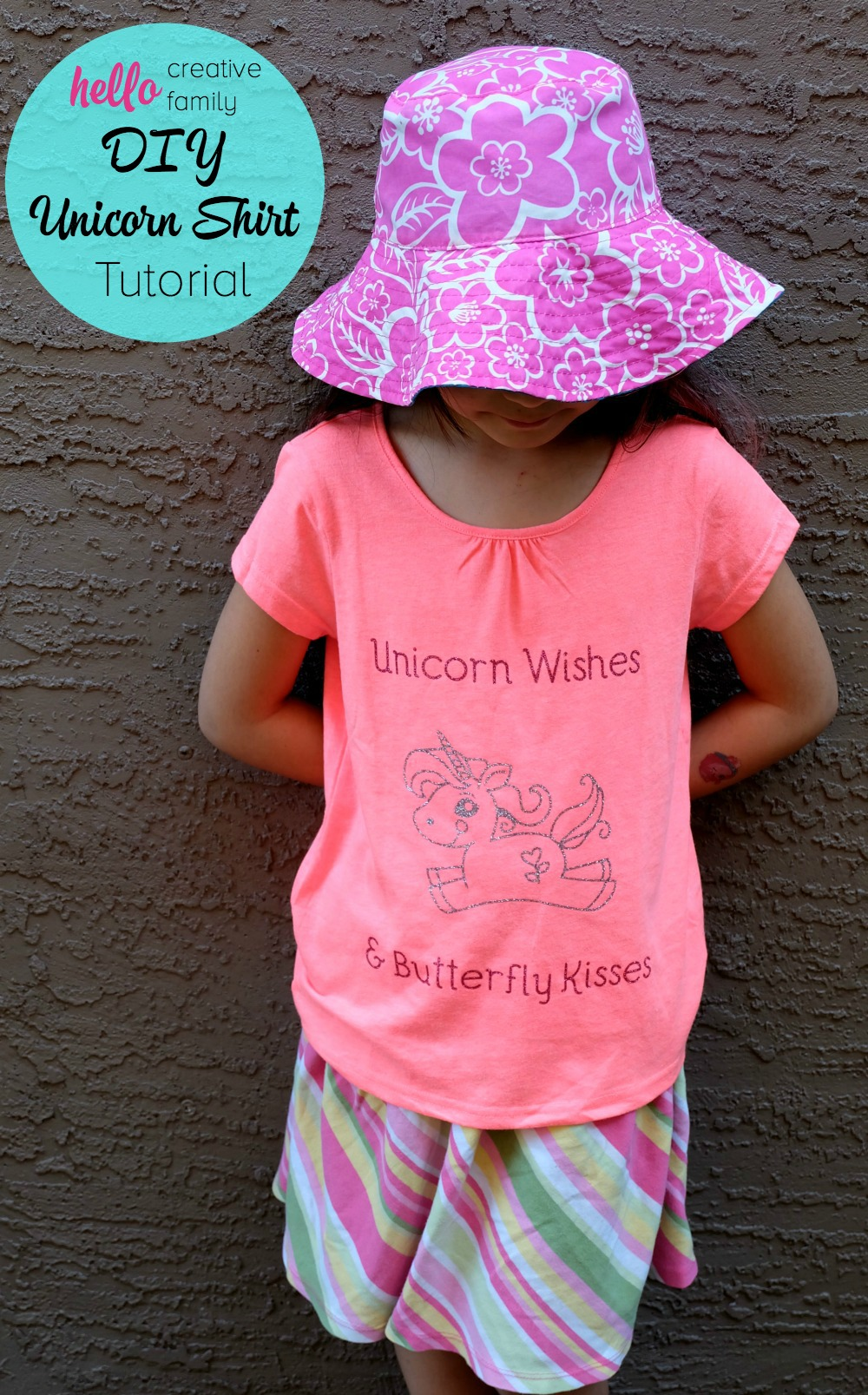 "75+ Magically Inspiring Unicorn Crafts, DIYs, Foods and Gift Ideas: Such an adorable shirt idea! ""Unicorn Wishes and Butterfly Kisses!"" Kids feel extra special when they wear handmade clothing made with love. Learn how to make a DIY Unicorn Shirt with your Cricut Explore. Such a great Cricut project to make cute kids clothing! This would be great for a unicorn themed birthday party!"