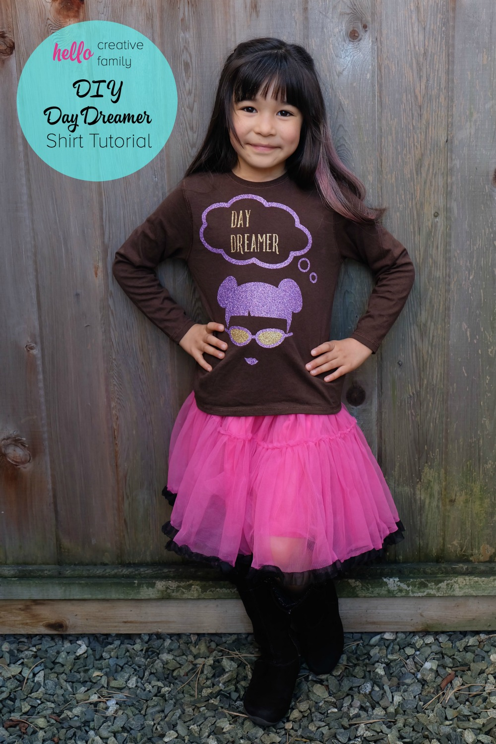 The perfect shirt for the dreamer in your life! This DIY Day Dreamer shirt can be made in minutes using the Cricut Explore. The project has a cute little girl with pigtail buns and says Day Dreamer and would be lovely for girl's clothing!