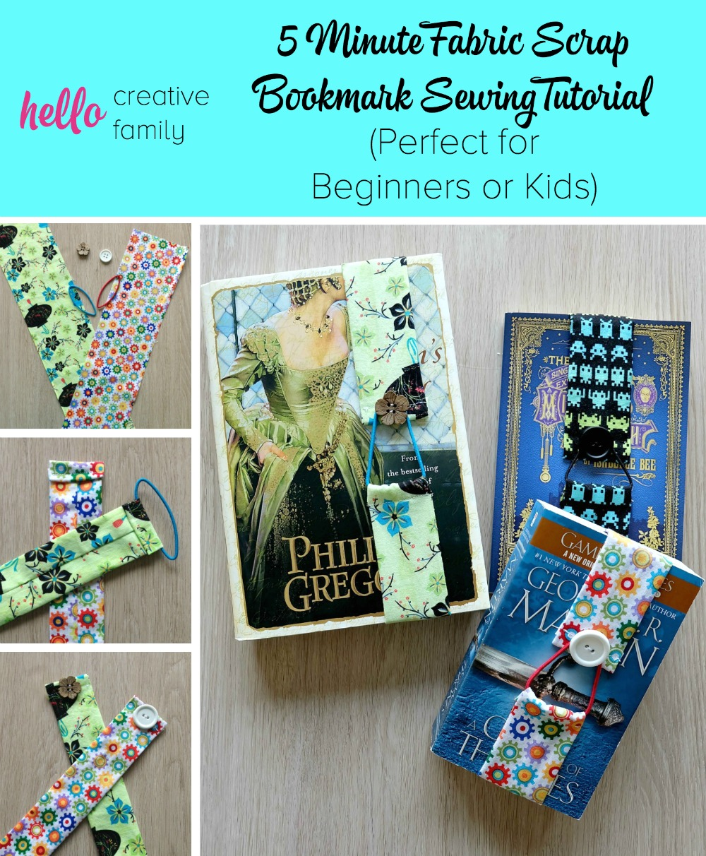 What a great beginner sewing project idea! It would make a great kid's craft project too! This 5 minute sewing project gives you step by step instructions, with photos for each step, on how to make a 5 minute fabric scrap bookmark! These would make great teacher gift ideas, stocking stuffer ideas, or father's day or mother's day gifts!
