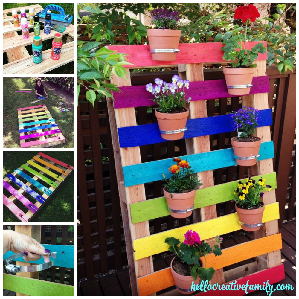 how to make a diy upcycled rainbow pallet flower garden planter hello creative family. Black Bedroom Furniture Sets. Home Design Ideas