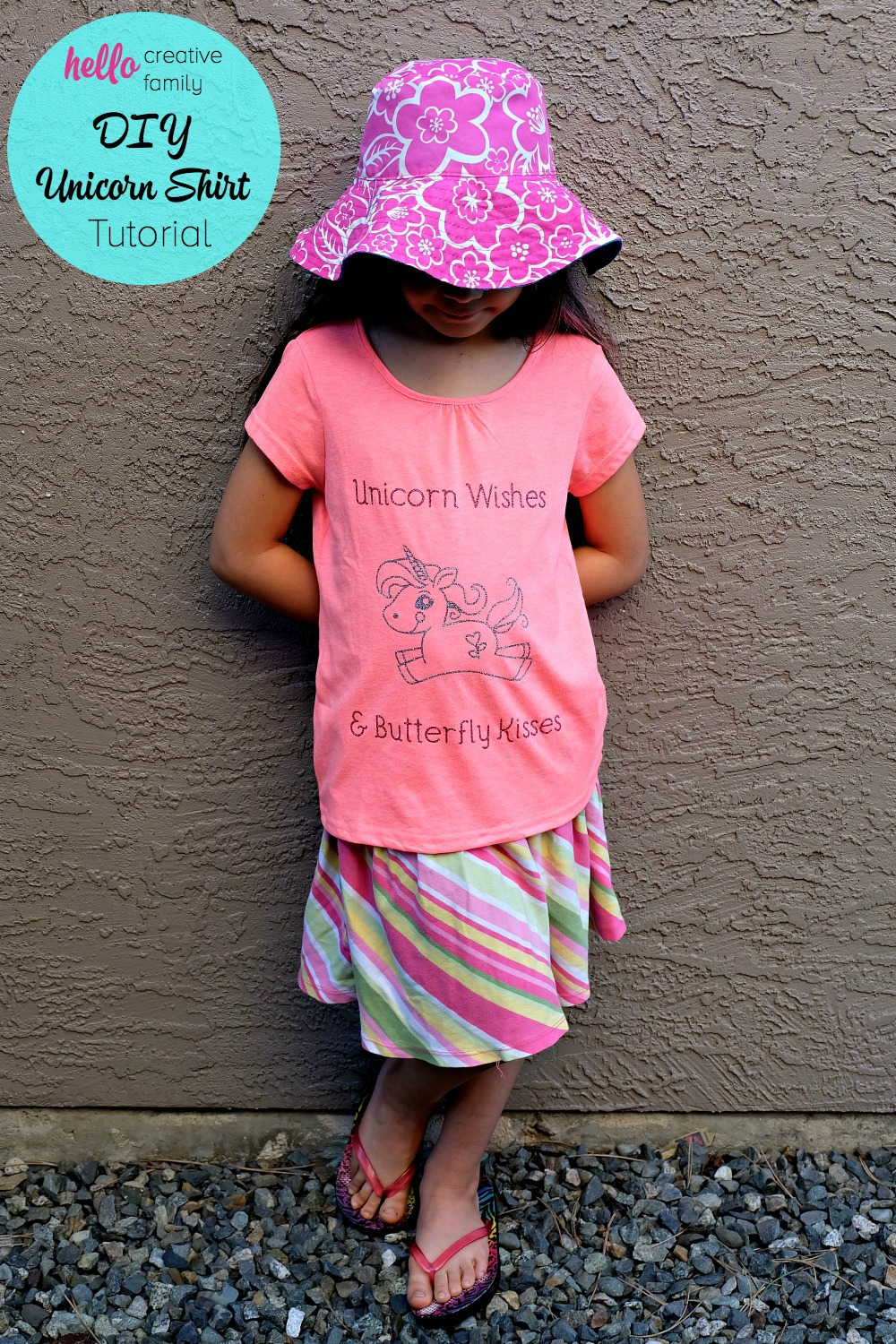 "Such an adorable shirt idea! ""Unicorn Wishes and Butterfly Kisses!"" Kids feel extra special when they wear handmade clothing made with love. Learn how to make a DIY Unicorn Shirt with your Cricut Explore. Such a great Cricut project to make cute kids clothing! This would be great for a unicorn themed birthday party!"