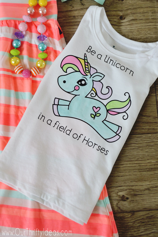 Watercolor Unicorn Shirt from Our Thrifty Ideas