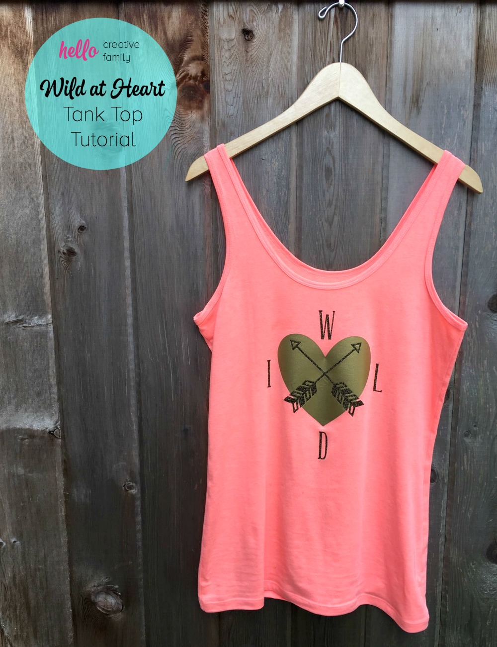 Diy wild at heart tank top tutorial hello creative family for How much is a custom t shirt