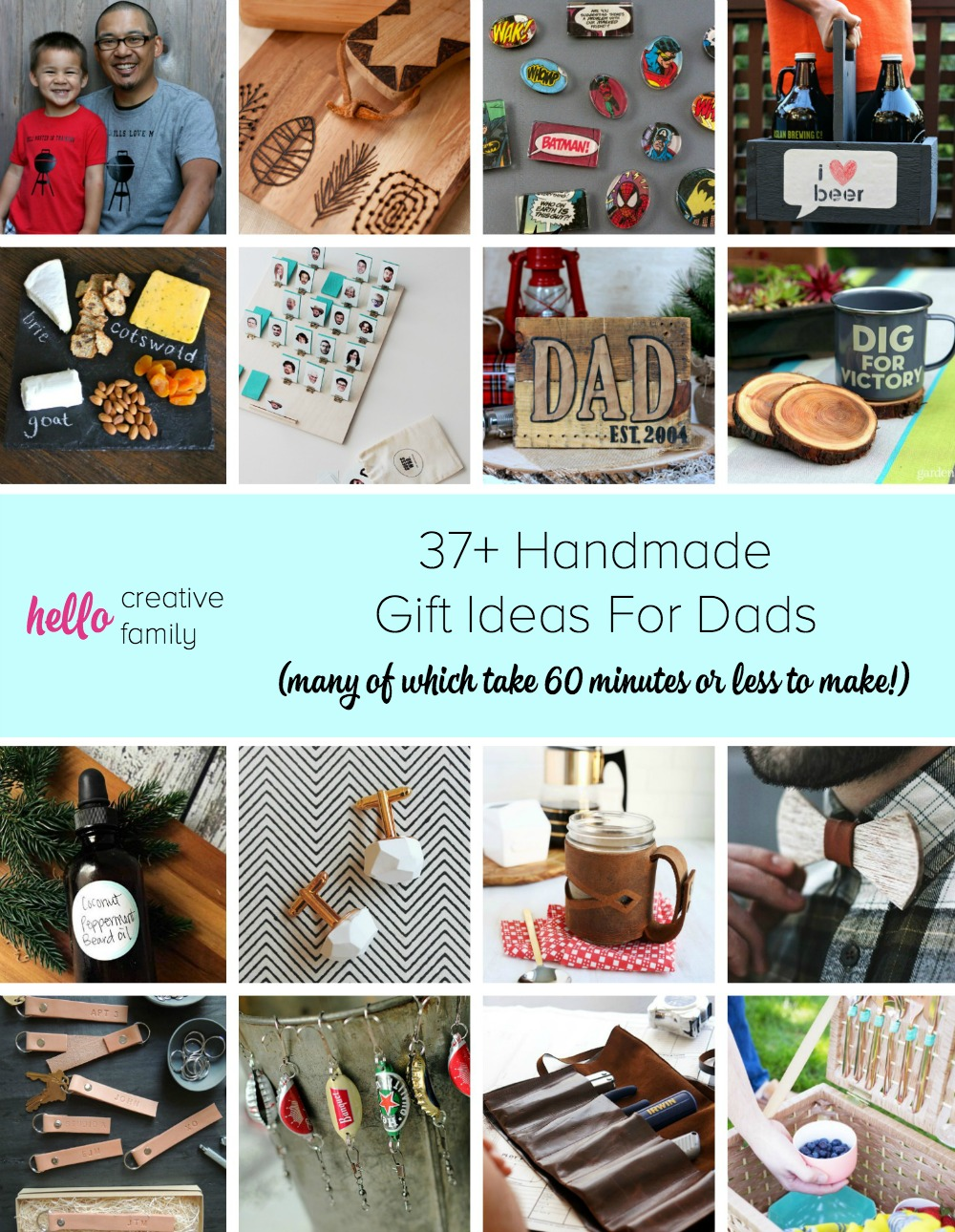 37 Handmade Gift Ideas For Dads Many Of Which Take 60 Minutes Or Less To Make Hello Creative Family