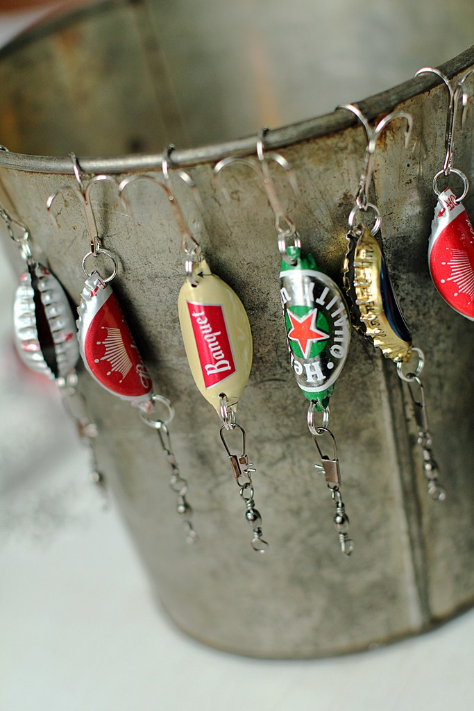 Beer Cap Fishing Lures from 2 Little Hooligans
