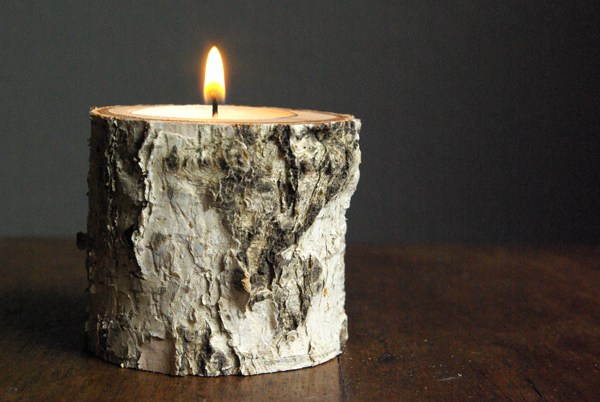 DIY Birch Wood Candle Holder from Oleander and Palm
