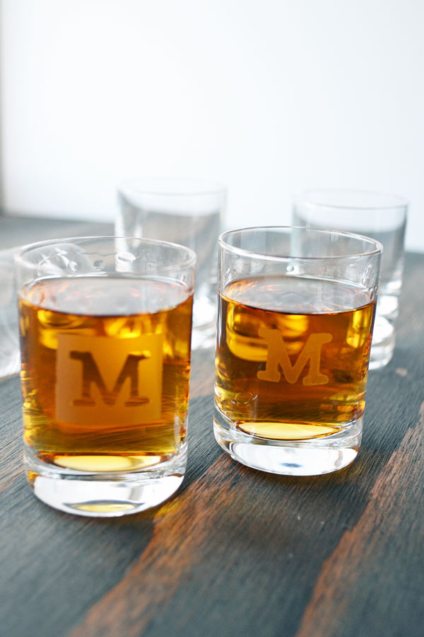 DIY Monogrammed Shot Glasses from Storypiece