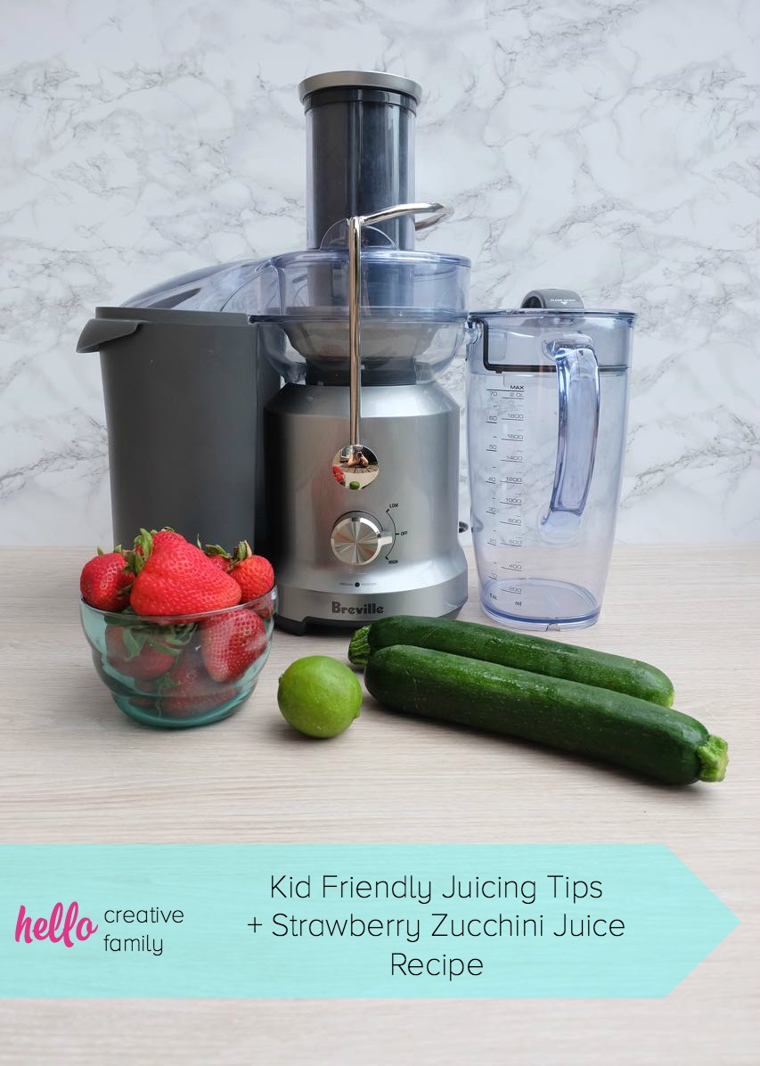 Want to get your kids drinking green juice? You'll want to read this post! Certified Culinary Nutrition Expert, Crystal Allen from Hello Creative Family, shares tips for getting kids to drink green juice along with a kid friendly strawberry zucchini green juice recipe!