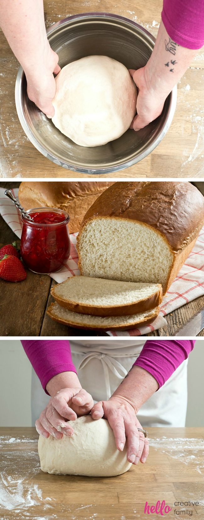 Making homemade bread is easy, once you get into the ritual and habit of doing it! Former bake shop owner, Renee from Hello Creative Family, shares how to make homemade bread perfect for sandwiches and rolls in this new back to basics article. An easy to follow recipe that will guarantee success with every loaf!