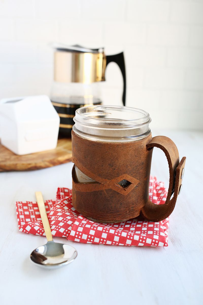 Leather Mason Jar Sleeve From A Beautiful Mess