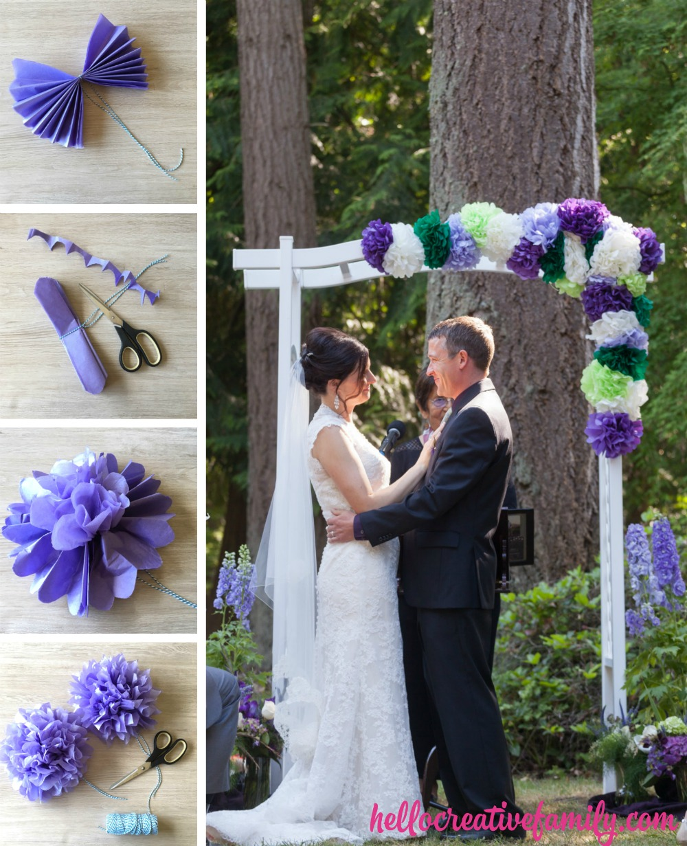 Looking for a budget party decoration idea? Learn how to make 8 DIY mini tissue paper flowers for $1.00! With step by step photos and instructions this post is a