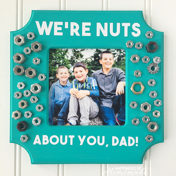 We're Nuts About You Dad DIY Photo Frame from Happiness is Homemade