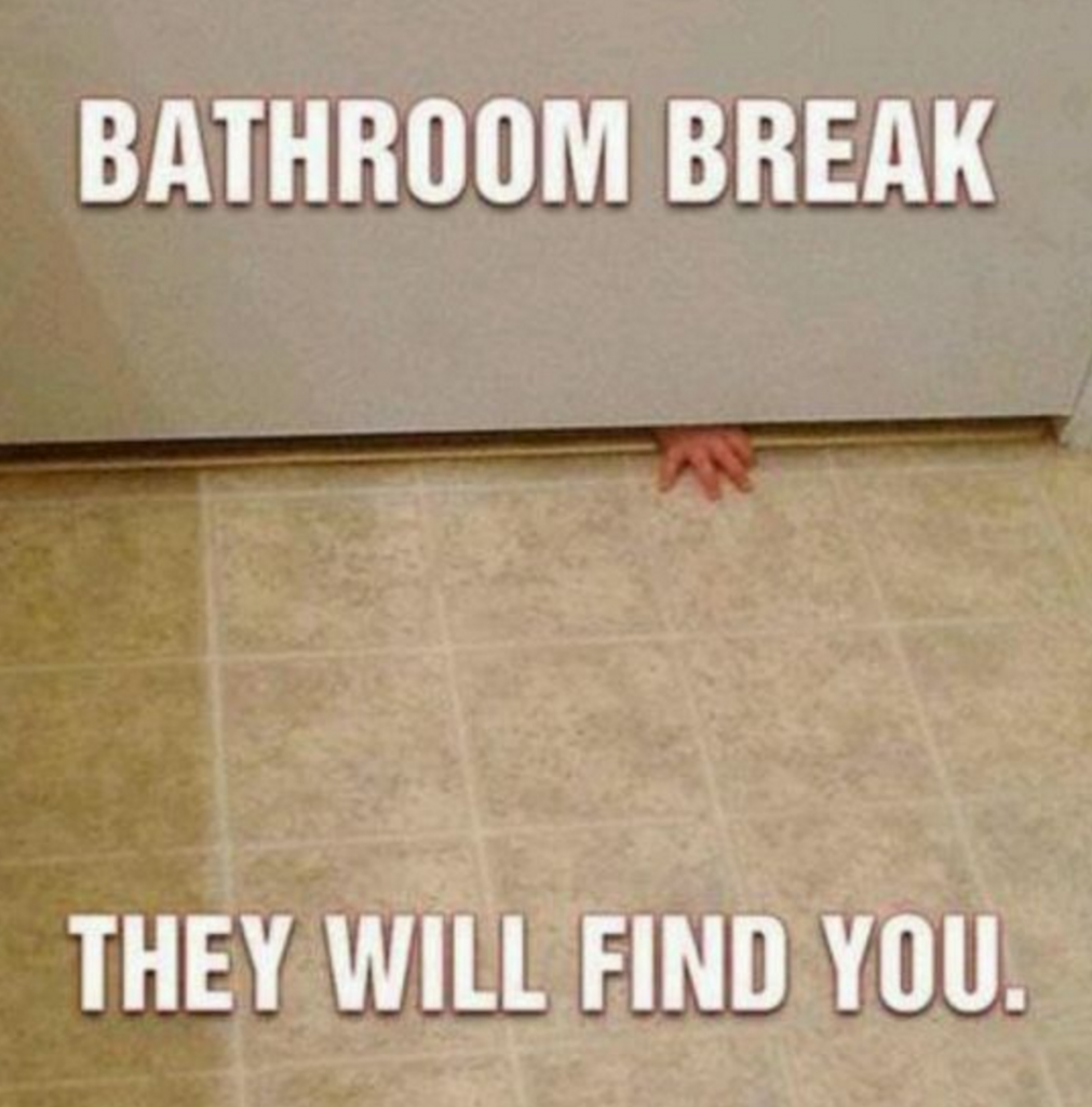 Bathroom break. They will find you.