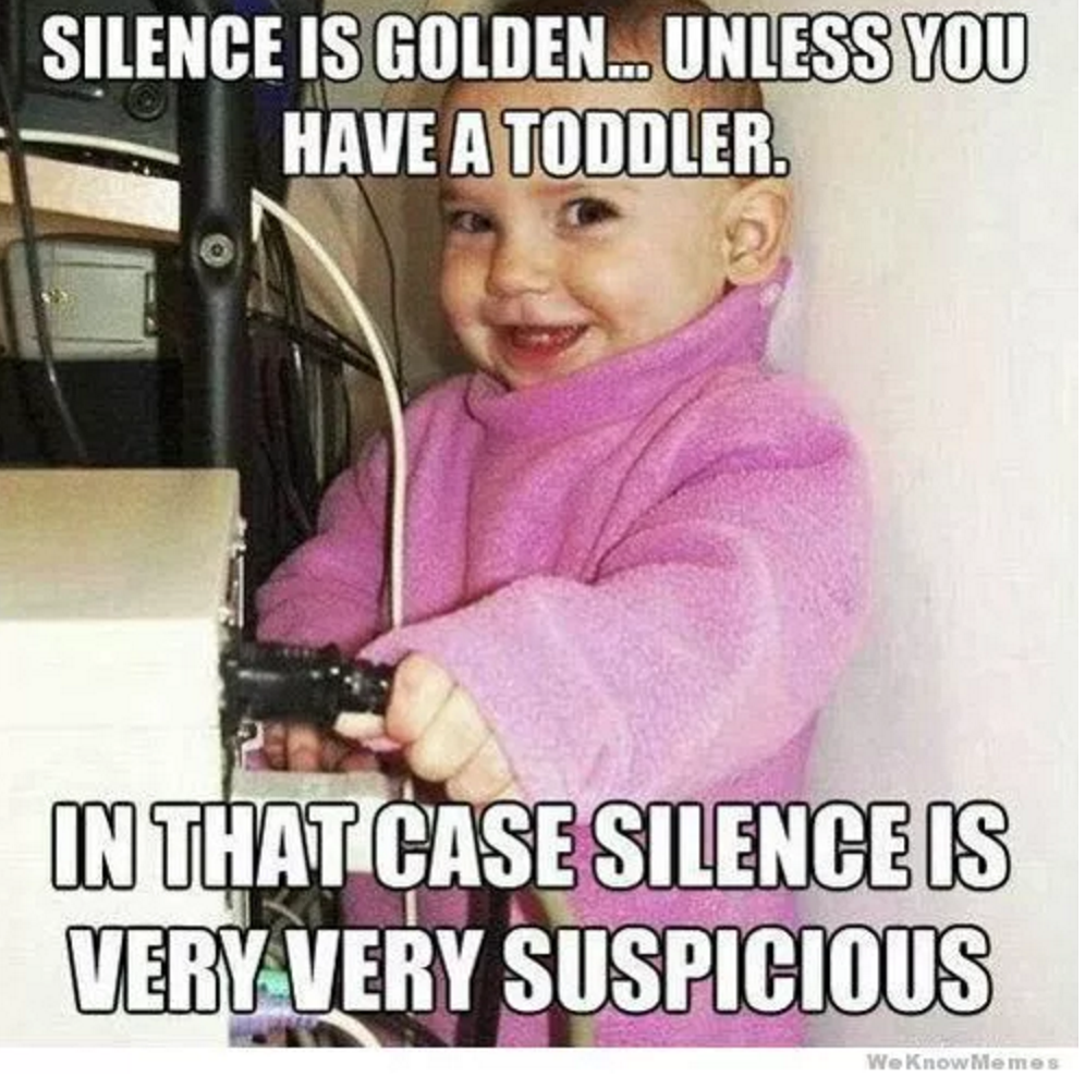 Silence is golden... unless you have a toddler. In that case silence is very very suspicious.