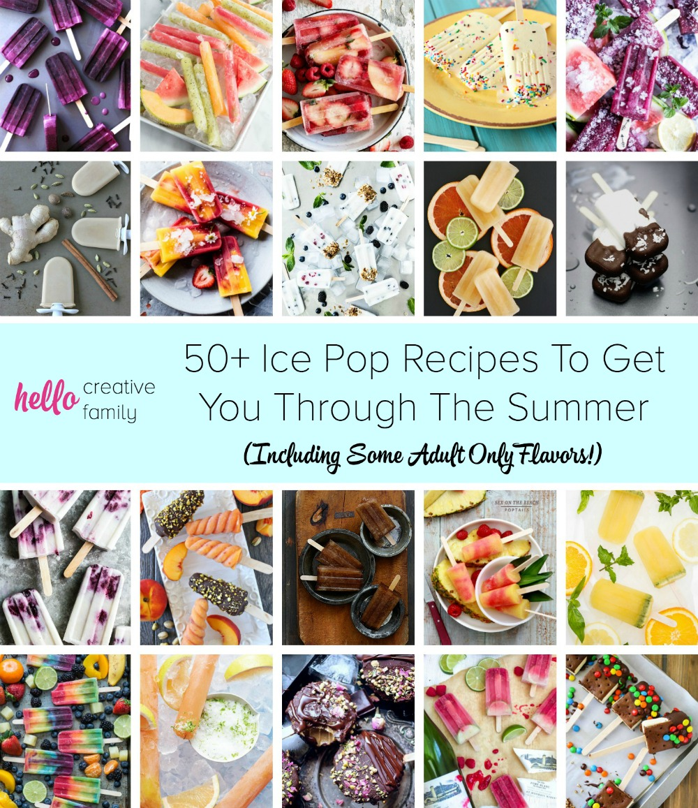 Nothing says summer like a popsicle! Here are over 50 ice pop recipes to help you get through the summer. We have popsicle recipes for kids, some adult only flavors and even a puppy pop!