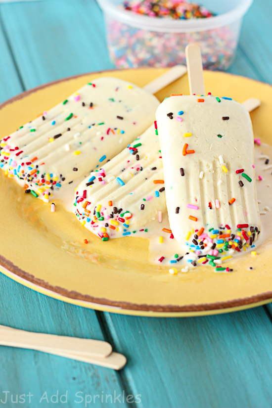 Cake Batter Ice Pops Recipe from Just Add Sprinkles