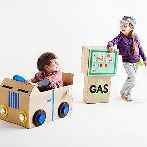 Cardboard Box Gas Pump and Car from Craigslist Dad